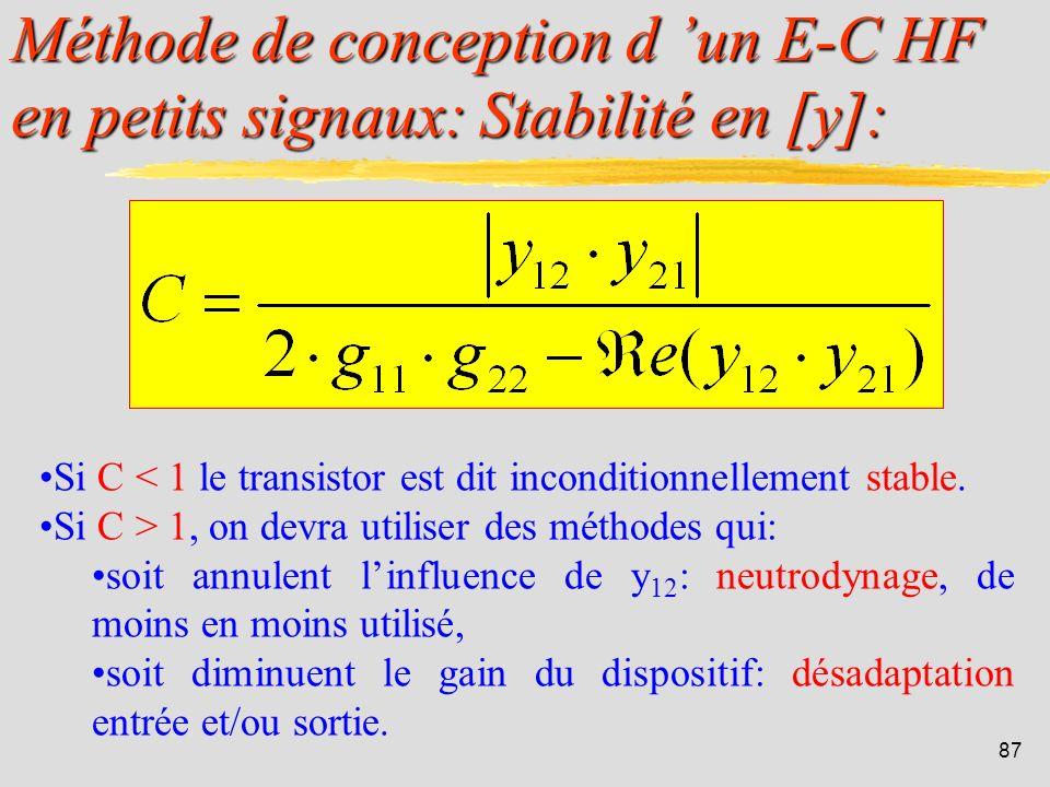 Méthode de conception d 'un E-C HF en petits signaux: Stabilité en [y]: